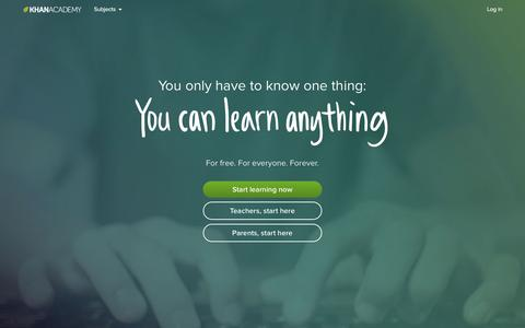 Screenshot of Home Page khanacademy.org - Khan Academy - captured Dec. 1, 2015