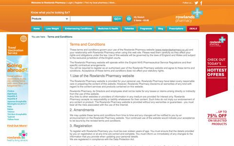Screenshot of Terms Page rowlandspharmacy.co.uk - Terms and Conditions, Rowlands Pharmacy - captured Jan. 13, 2016