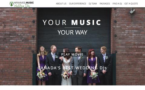 Screenshot of Home Page airwavesmusic.ca - Airwaves Music | Find a Top Kelowna DJ or Vancouver Wedding DJ Today! - captured Sept. 30, 2014