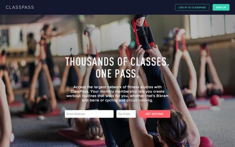 Screenshot of Home Page classpass.com - ClassPass - captured Oct. 28, 2015