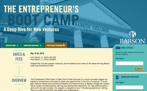 Screenshot of Landing Page babson.edu - The Entrepreneur's Boot Camp: A Deep Dive for New Ventures - captured Aug. 26, 2016