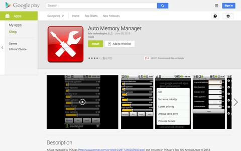 Screenshot of Android App Page google.com - Auto Memory Manager - Android Apps on Google Play - captured Oct. 23, 2014