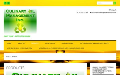 Screenshot of Products Page culinaryoilmanagement.com - Products | Culinary Oil Management Inc. - captured Oct. 28, 2014