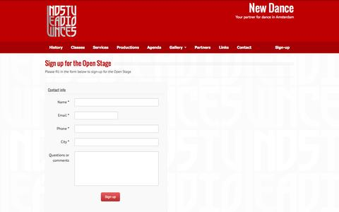 Screenshot of Signup Page newdancestudios.com - Sign up for the Open Stage | New Dance - captured Sept. 30, 2014
