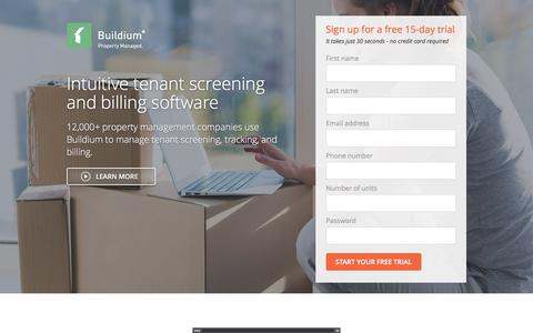 Screenshot of Landing Page buildium.com - Tenant Management – Learn Buildium - captured April 27, 2016