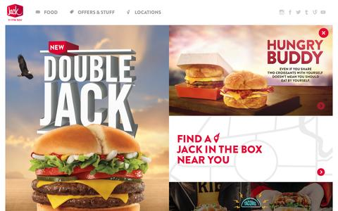 Screenshot of Home Page jackinthebox.com - Jack In The Box - Homepage - captured March 7, 2016