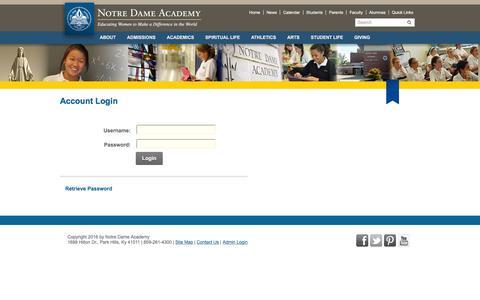 Screenshot of Login Page ndapandas.org - Notre Dame Academy > Login - captured June 24, 2016