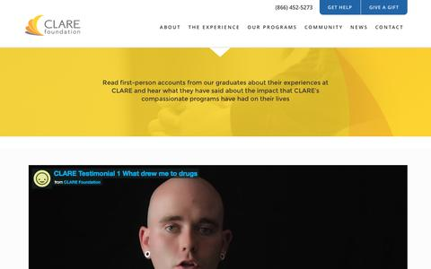 Screenshot of Testimonials Page clarefoundation.org - Sobriety Success Stories and Testimonials | CLARE Foundation - captured July 9, 2016