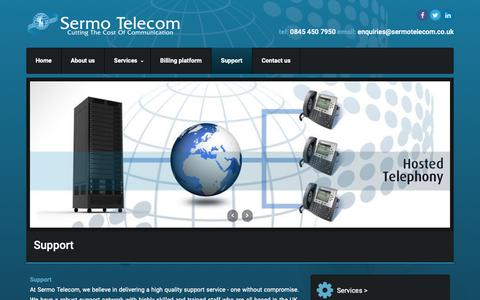 Screenshot of Support Page sermotelecom.co.uk - Support | Sermo Telecom Ltd | VoIP | Internet Connectivity | Hosted Telephones - captured Oct. 20, 2018