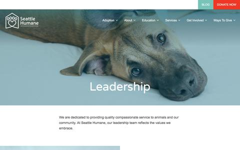 Screenshot of Team Page seattlehumane.org - Leadership – Seattle Humane Society - captured Sept. 23, 2018