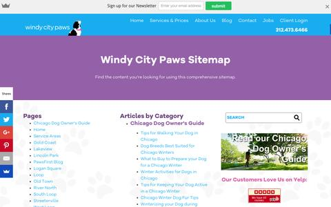 Screenshot of Site Map Page windycitypaws.com - Sitemap - Windy City Paws - captured Feb. 14, 2016