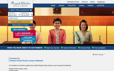 Screenshot of Contact Page royalechulan-kualalumpur.com - Contact Us | Royale Chulan Hotel in Kuala Lumpur - captured June 29, 2017