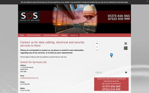 Screenshot of Contact Page switch-on-services.co.uk - Data cabling services in Brighton - Switch On Services Ltd - captured Oct. 19, 2018