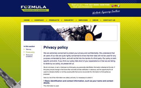 Screenshot of Privacy Page fozmula.com - Fozmula | The fuel level sender and liquid level specialists - captured Oct. 1, 2014