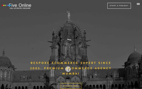 Screenshot of Home Page fiveonline.in - Premium E-Commerce Web Designing Company | Five Online Mumbai, India - captured Jan. 26, 2016