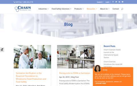 Screenshot of Blog charm.com - Blog - Charm Sciences - captured Nov. 23, 2019