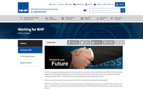 Screenshot of Jobs Page nhp.com.au - NHP Electrical Engineering Products - captured Dec. 2, 2016