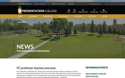 Screenshot of Press Page presentation.edu - News | Presentation College - captured Nov. 10, 2016