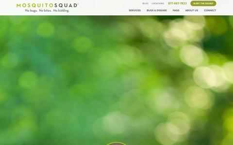 Screenshot of Home Page mosquitosquad.com - Mosquito Squad | Sprays, Tick Control & More - captured Sept. 22, 2014