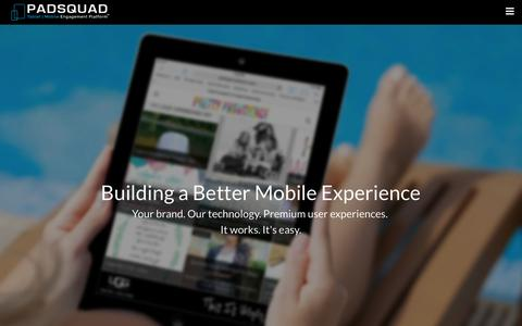 Screenshot of Home Page padsquad.com - PadSquad—The World Class Tablet & Mobile Engagement Platfom - captured Jan. 14, 2015
