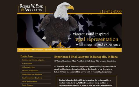 Screenshot of Home Page york-law.com - Robert W. York & Associates   Indianapolis Indiana Litigation Attorney   Muncie Carmel Fishers Marion County IN - captured Oct. 18, 2018
