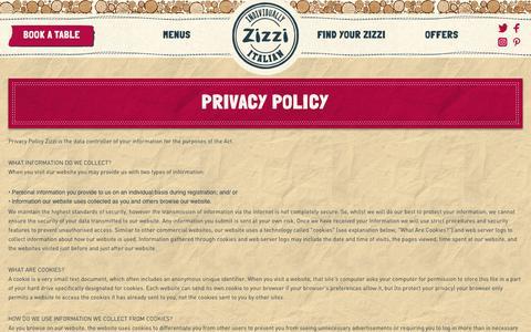 Screenshot of Privacy Page zizzi.co.uk - Zizzi | Zizzi Privacy Policy, Zizzi Restaurant, Italian Restaurant London, Italian Takeaway - captured Oct. 1, 2016