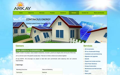 Screenshot of Jobs Page aarkaaysolutions.com - AARKAAY ENERGY SOLUTIONS INDIA PRIVATE LIMITED - captured Oct. 4, 2014
