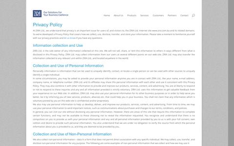 Screenshot of Privacy Page zira.com.ba - Privacy Policy | ZIRA Ltd. - captured Oct. 26, 2014