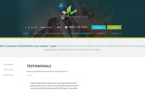Screenshot of Testimonials Page akenergy.com - Testimonials - AK Energy - captured Sept. 17, 2017