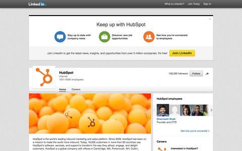 Screenshot of LinkedIn Page linkedin.com - HubSpot | LinkedIn - captured Sept. 8, 2016