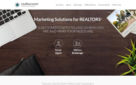 Screenshot of Products Page realtor.com - Real Estate Marketing and Advertising for Agents and Brokers | realtor.com® | Agent and Broker lead generation solutions - captured Sept. 19, 2014