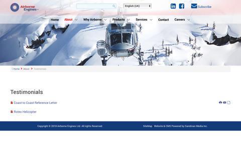 Screenshot of Testimonials Page airborneengines.com - Airborneengines - Testimonials - captured Oct. 3, 2018