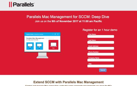 Screenshot of Landing Page parallels.com - Parallels Mac Management (PMM) - captured April 21, 2018