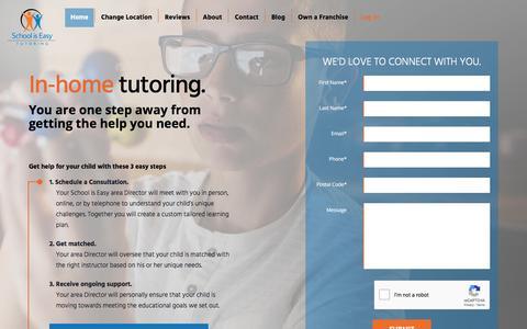 Screenshot of Home Page schooliseasy.com - Home - School is Easy Tutoring - captured July 19, 2019