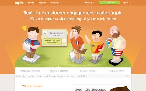 Screenshot of Home Page zopim.com - Zopim Live Chat Software | Engage your Customers | Live Support - captured Sept. 17, 2014
