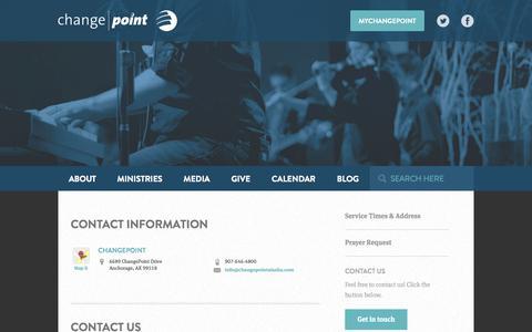 Screenshot of Contact Page changepointalaska.com - Contact Us | ChangePoint Alaska - captured Oct. 2, 2014