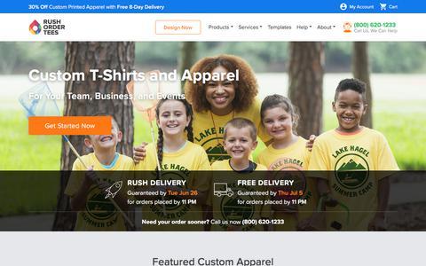 Screenshot of Home Page rushordertees.com - Custom T-Shirts Fast, Design Online | RushOrderTees.com™ - captured June 26, 2018