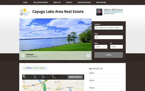 Screenshot of Home Page billkrausehomes.com - Cayuga Lake Area Real Estate | Buy and Sell with EXPERIENCE - captured June 19, 2016