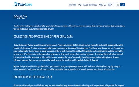 Screenshot of Privacy Page busylamp.com - BusyLamp - The web-based legal management platform - captured Oct. 5, 2014