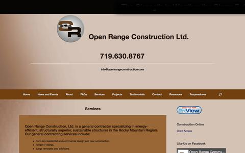 Screenshot of Services Page openrangeconstruction.com - Services – Open Range Construction Ltd. - captured Oct. 23, 2017