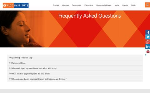 Screenshot of FAQ Page vlccinstitute.com - FAQ - VLCC - captured Feb. 4, 2016