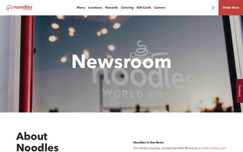 Screenshot of Press Page noodles.com - Newsroom ~ Noodles & Company - captured Sept. 27, 2019