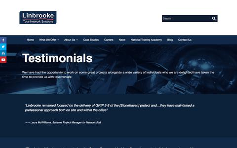 Screenshot of Testimonials Page linbrooke.co.uk - Testimonials | Linbrooke - captured Dec. 15, 2018