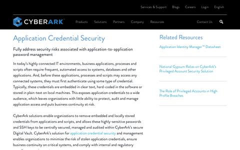Application Credential Security - CyberArk