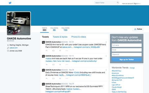 Screenshot of Twitter Page twitter.com - OAKOS Automotive (@OAKOS) | Twitter - captured Oct. 26, 2014