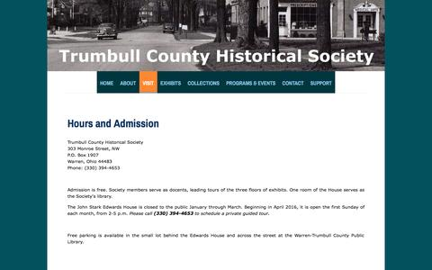 Screenshot of Hours Page google.com - Hours & Admission - Trumbull County Historical Society - captured May 25, 2016