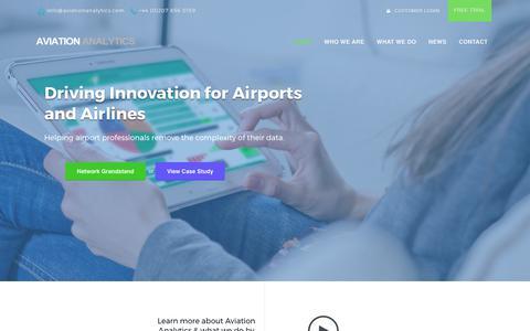 Screenshot of Home Page aviationanalytics.com - Data & Analysis Products for Aviation | Aviation Analytics - captured Sept. 29, 2017