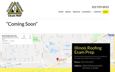 Screenshot of Blog illinoisroofingexamprep.com - Blog - Illinois Roofing Exam Prep : Illinois Roofing Exam Prep - captured Nov. 6, 2018