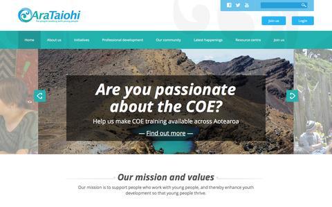 Screenshot of Home Page arataiohi.org.nz - Ara Taiohi - captured Feb. 14, 2016