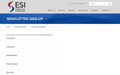 Screenshot of Signup Page esigroupusa.com - Newsletter Sign-up - ESI Group USA - captured May 13, 2017